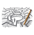 Hand drawn man standing in center of labyrinth vector image