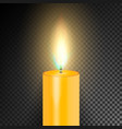 realistic burning dinner candle transparency grid vector image