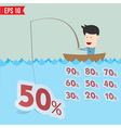 Cartoon businessman catching sale tag in the sea - vector image vector image