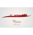 Warsaw skyline in red vector image