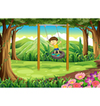 A young boy playing with the tire swing vector image vector image