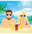 young happy couple enjoying beach holiday vector image