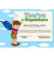 Certificate design with boy being superhero vector image