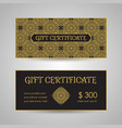 arabic style gift certificate template vector image