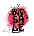 Big Sale letteringTee Shirtwatercolor red splash vector image