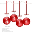 Christmas card with red balls and red bows vector image