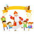 sinterklaas and kids vector image