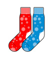 Socks winter with snowflakes for Christmas gifts vector image