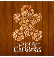 Christmas gingerbread man on wooden background vector image