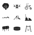 Play garden set icons in black style Big vector image