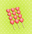 Red ripe strawberry isolated on green vector image