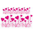 border of stylized hearts for design vector image vector image