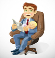Business dad with sleep baby in an office chair vector image