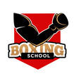 boxing school promotional logotype with fit arm in vector image