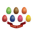 set easter eggs isolated on white background vector image