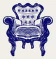 Wooden chair upholstered in leather vector image