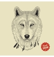 sketch of a wolf face Wolf head front vector image