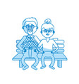 silhouette old couple in the chair with hairstyle vector image