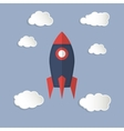 single rocket icon and clouds vector image