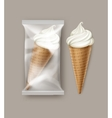 White Ice Cream Waffle Cone with Transparent Foil vector image