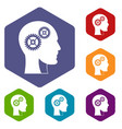 gears in human head icons set hexagon vector image