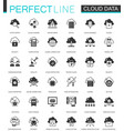 black classic data cloud technology web icons set vector image