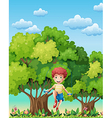 A boy playing with the skipping rope near the vector image