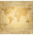 vintage world map with compass vector image vector image