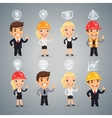 Businessmen with Icons Set vector image