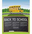 Back to School Yellow School Bus in Cartoon Style vector image
