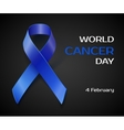 Awareness blue ribbon isolated on black vector image