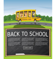 Back to School Yellow School Bus in Cartoon Style vector image