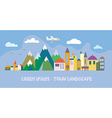 Banner with tourist town - funny vector image