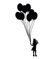 child with balloon silhouette vector image