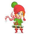 cute santa helper girl vector image