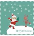 Greeting card with happy Santa and rabbit skates vector image
