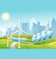 solar panels and wind vector image