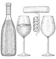 wine bottle and glasses with corkscrew hand drawn vector image