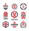 World aids and cancer day label set vector image