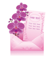 Flower orchid in envelope on white background vector image vector image