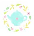 Cute teapot in a floral laurel vector image