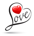 Love with heart typography Love calligraphy vector image