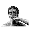 Man punched sketch vector image vector image