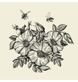 Bees flying to the flower Hand drawn beekeeping vector image
