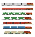 Collection of freight railway trains vector image