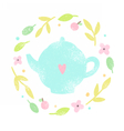 Cute teapot in a floral laurel vector image