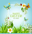 easter floral frame with spring flower card design vector image