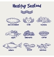 Healthy seafood set in ball pen style vector image