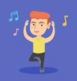 little caucasian boy dancing vector image