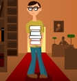 Student with pile of books in the library vector image